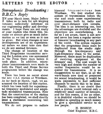 Letter about stereo from the BBC to Wireless World in 1950